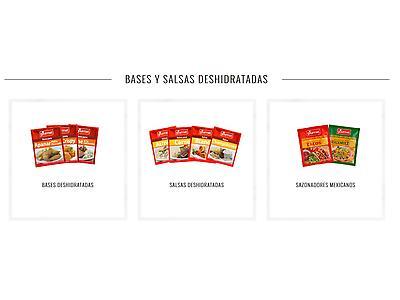 Sopas y Caldos, Bases y salsas de cocina deshidratadas, dressings, productos reposteria deshidratados y decoracion, salsas dulces y condimentos.