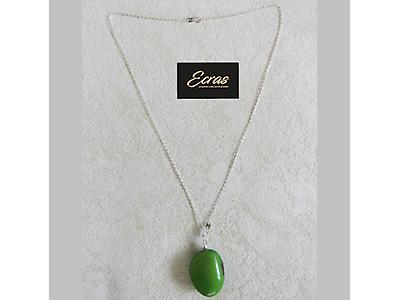 Silver chain and tagua seed pendant 003.001.0001