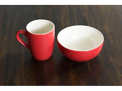 SET JARRO Y BOWL BICOLOR ROJO MATE