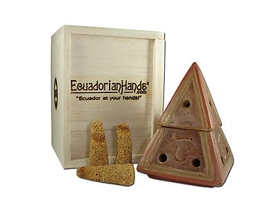 Piramid cone burner brown, balsafly box & 10 palosanto incense cone