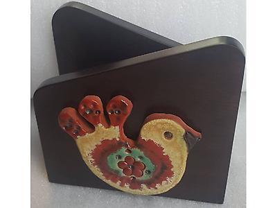 Porta Servilletas de madera: paloma, gallo, gallina, búho, gorrión.