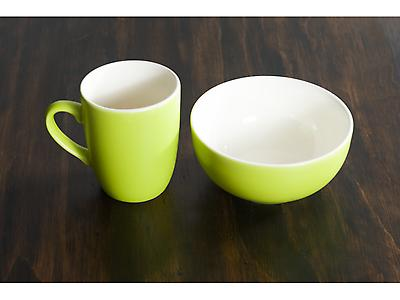 SET JARRO Y BOWL BICOLOR VERDE MATE