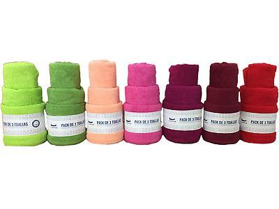 Pack de 3 Toallas (Varios Colores), 100% de Algodón