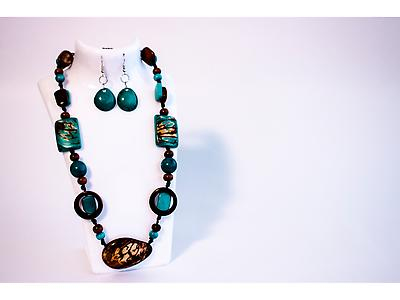 Necklace with beaded pieces of tagua