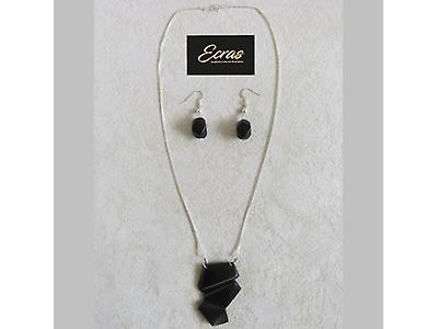 Tagua and silver set of necklace and earrings 003.006.0005