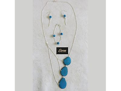 Tagua and silver set of necklace, wristband, and earrings 003.006.0008