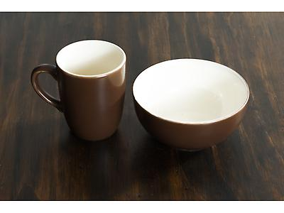 SET JARRO Y BOWL BICOLOR CAFÉ MATE