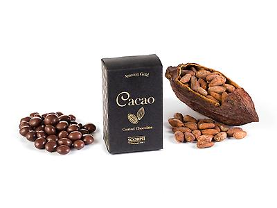 Cocoa Beans covered with Dark Chocolate. Granos cacao