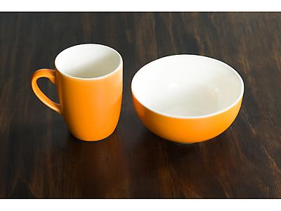 SET JARRO Y BOWL BICOLOR NARANJA MATE