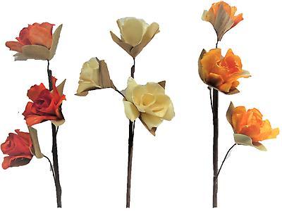 MINI ROSA BIJAO JGOX3 SURTIDO, Colores beige, tornasol, amarillo y palo de rosa. Largo 70cm x Ancho 7cm. Empaque 90 unidades